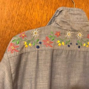 Tops - Vintage Embroidered chambray Shirt
